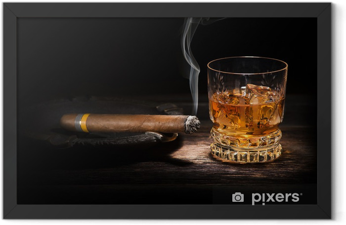 Whiskey and cigar Framed Poster - Alcohol