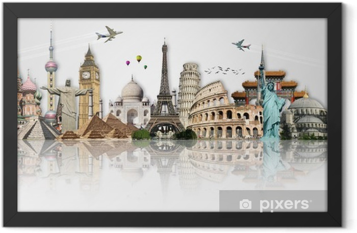 Travel the world monuments concept Framed Poster - Themes