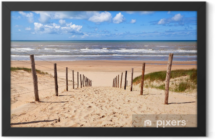 path to sandy beach by North sea Framed Poster - Destinations