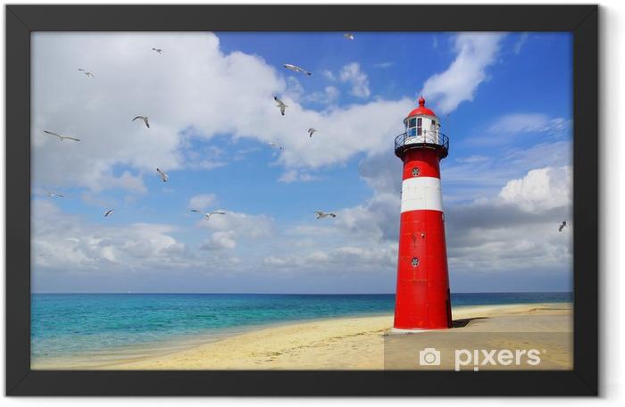 Plakat w ramie Lighthouse z mew latających. Westkapelle - Latarnia morska