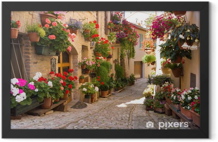 Ingelijste Poster Steegje met bloemen, Spello -