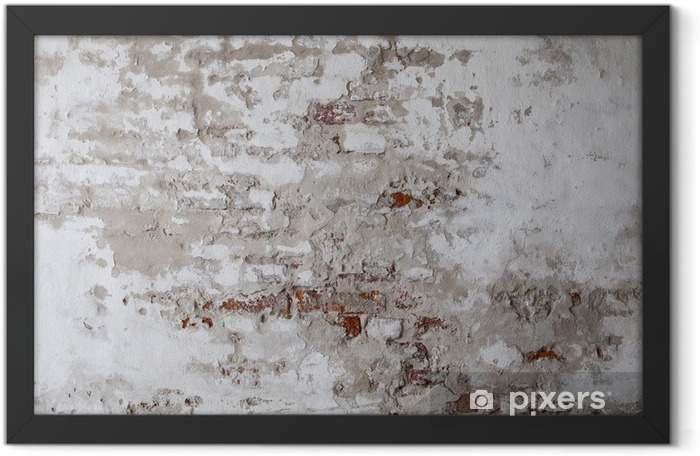 Old Red Brick Wall with Cracked Concrete Framed Poster - Themes