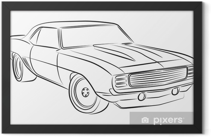 Muscle car drawing Framed Poster - On the Road