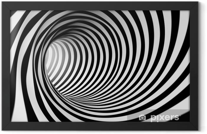 Plakat w ramie 3d streszczenie spirali tle w czerni i bieli - Style