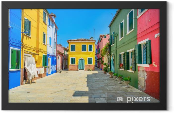 Venice landmark, Burano island street, colorful houses, Italy Framed Poster - Themes