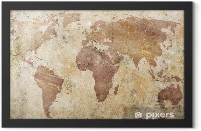 Plakat w ramie Vintage, mapa świata -
