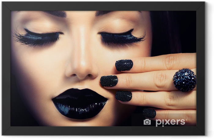 Beauty Fashion Girl with Trendy Caviar Black Manicure and Makeup Framed Poster - Themes