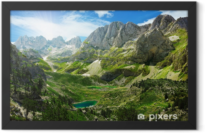 Amazing view of mountain lakes in the Albanian Alps Framed Poster - Themes