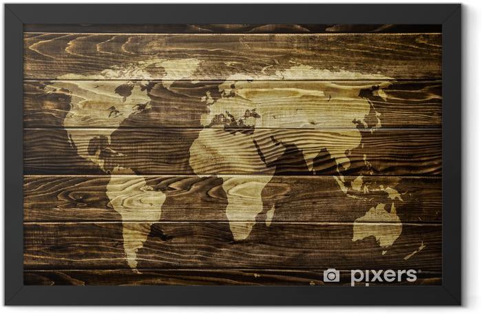 Plakat w ramie Mapa świata na tle drewna -