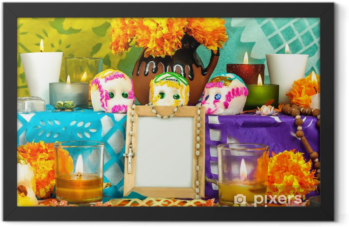 Mexican day of the dead altar with blank photo frame Framed Poster - Art and Creation