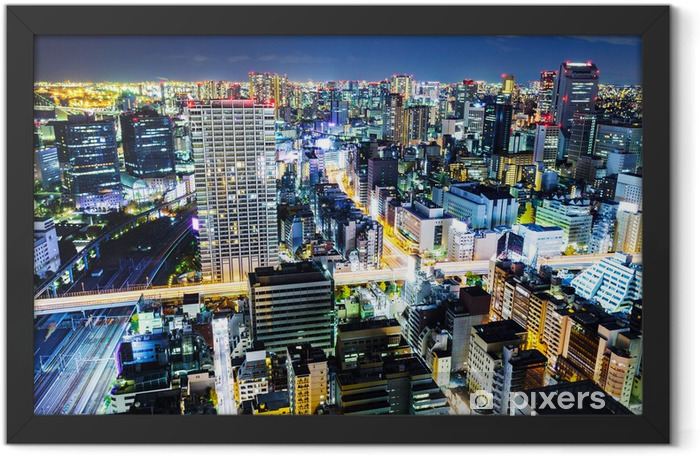 Tokyo cityscape at night Framed Poster - Asian Cities