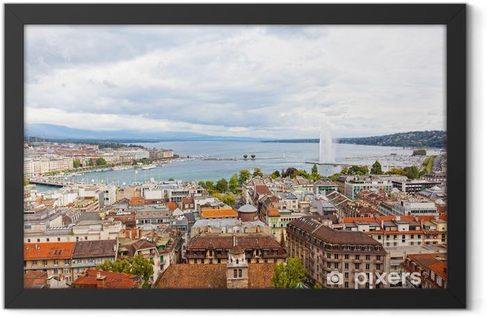 Poster en cadre Vue ou à Genève, Lac Léman et Jet d'eau en Suisse - Paysages urbains