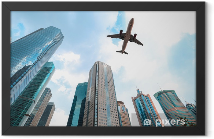 modern buildings with airplane Framed Poster - Other