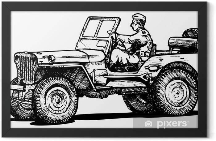 Poster en cadre Guerre mondiale jeep deux de l'armée. - Sur la route