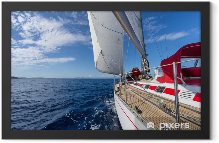 Sailing yacht in blue sea Framed Poster - Sea and ocean