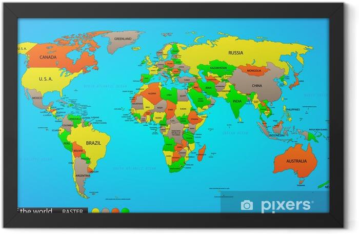 Plakat w ramie Mapa polityczna świata - Zasoby graficzne