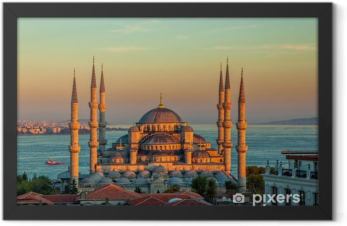 Blue mosque in Istanbul in sunset Framed Poster - Themes