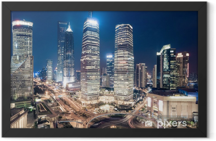 shanghai downtown night view Framed Poster - Urban