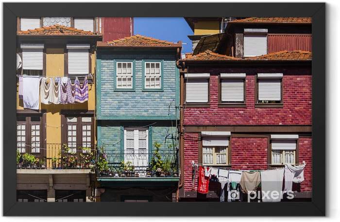 Porto - typical colorful buildings of the Ribeira District Framed Poster - Holidays
