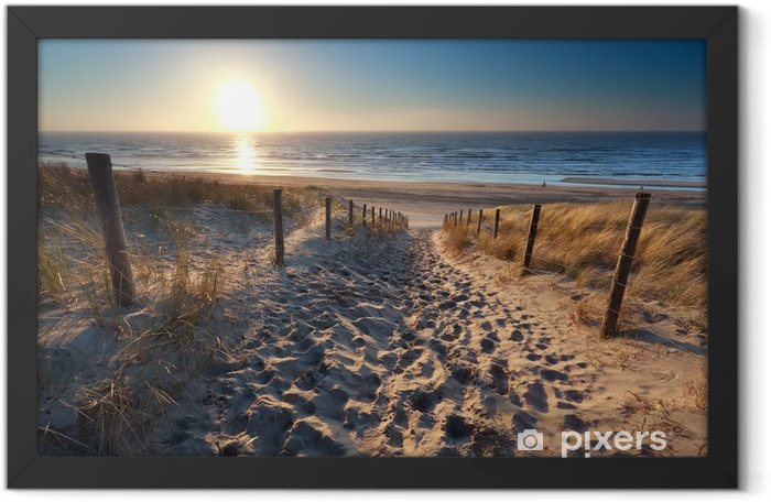 sunshine over path to beach in North sea Framed Poster - Destinations