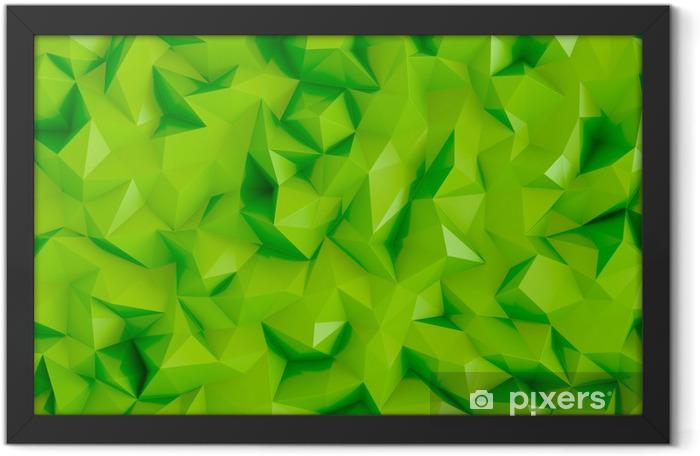 Plakat w ramie Wielokątne limonkowy 3d geometryczne abstrakcyjne tło trójkąt - Geometria