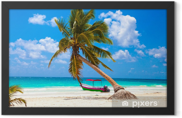Vacations and tourism concept: Caribbean Paradise. Framed Poster - Palm trees
