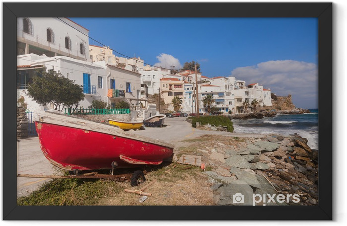 Boat and white houses near seashore at geek island Framed Poster - Home and Garden