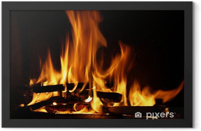 Plakat w ramie Ogień w kominku płomienie ognia na czarnym tle - Tematy