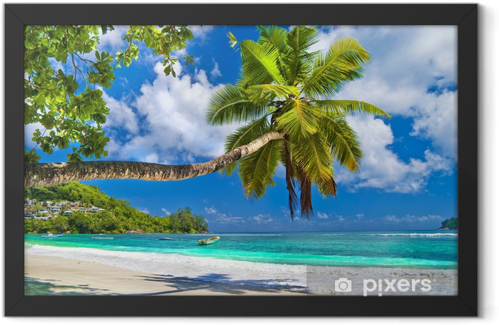 Plakat w ramie Idylliczna tropikalna sceneria - Seszele - Tematy