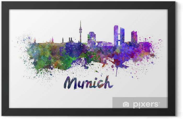 Plakat w ramie Monachium skyline w akwarela - Naklejki na ścianę