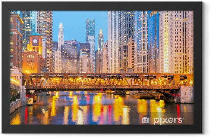 Chicago downtown and River Framed Poster - Themes