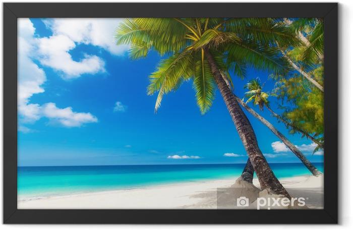 Plakat w ramie Marzę scenę. Piękne palmy na piaszczystej plaży. Lato n - Palmy