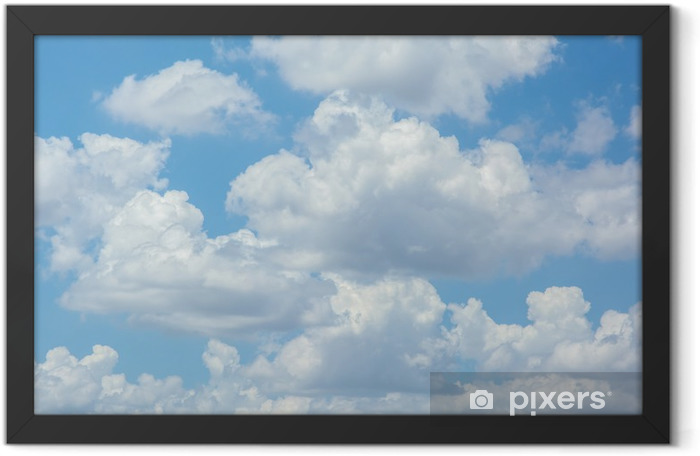 white clouds on blue sky Framed Poster - Themes