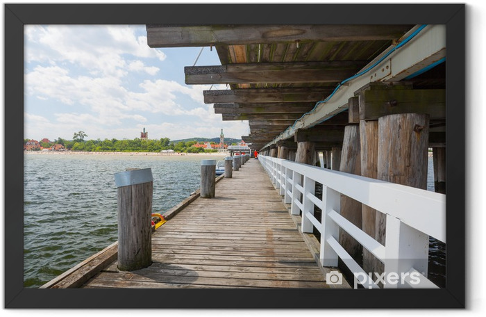 Sopot molo at Baltic Sea, longest wooden pier in Europe Framed Poster - Europe