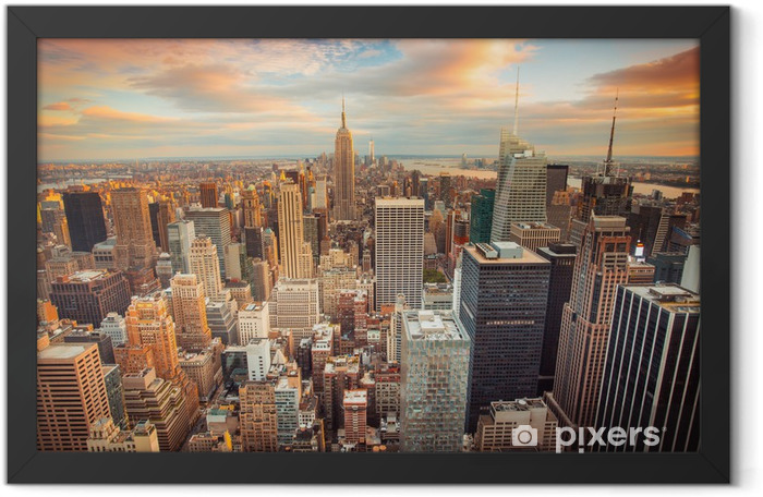Sunset view of New York City overlooking midtown Manhattan Framed Poster -