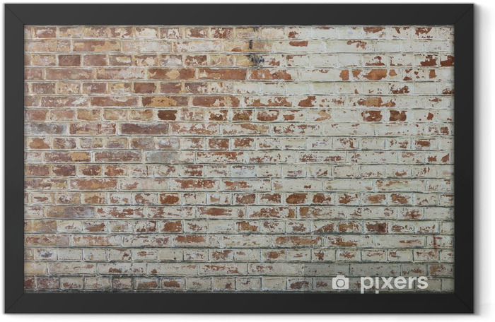 Background of old vintage dirty brick wall with peeling plaster Framed Poster - Themes
