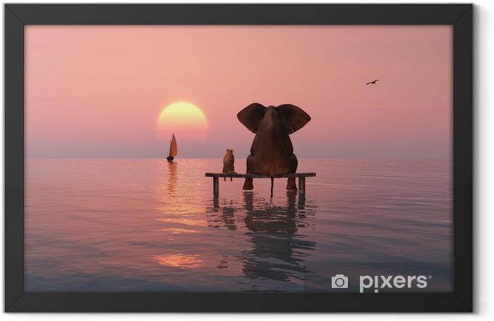 Poster en cadre Éléphant et le chien assis au milieu de la mer - Éléphants
