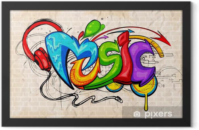 Plakat w ramie Muzyka w tle w stylu graffiti - Tematy