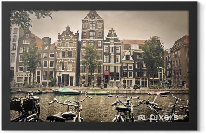 grey day in amsterdam city Framed Poster - Themes