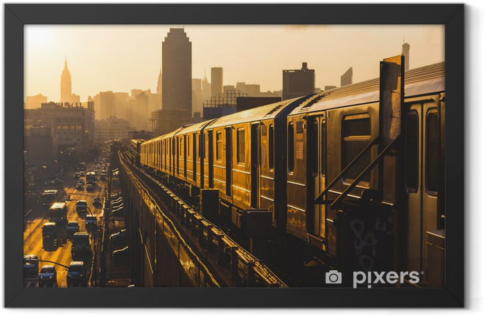 Subway Train in New York at Sunset Framed Poster - Styles