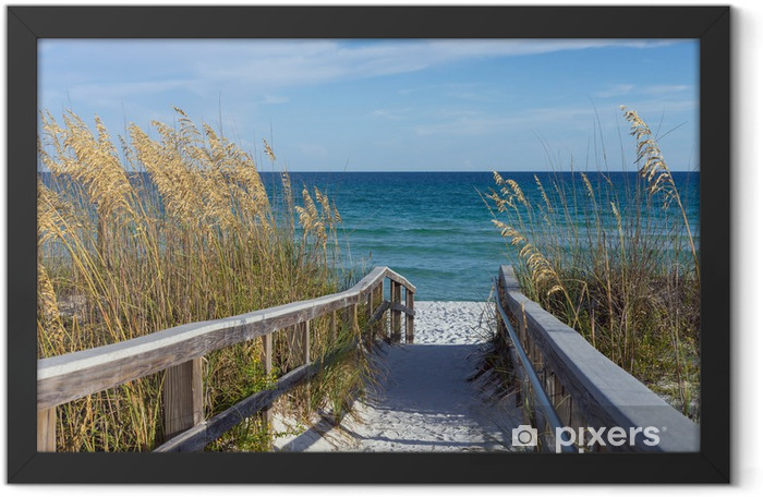 Beach Boardwalk with Dunes and Sea Oats Framed Poster - Themes