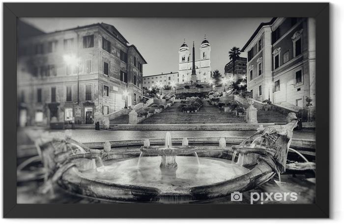 Plakat w ramie Styl fotografia Schody Hiszpańskie, Rzym w stylu vintage - Włochy. - Tematy
