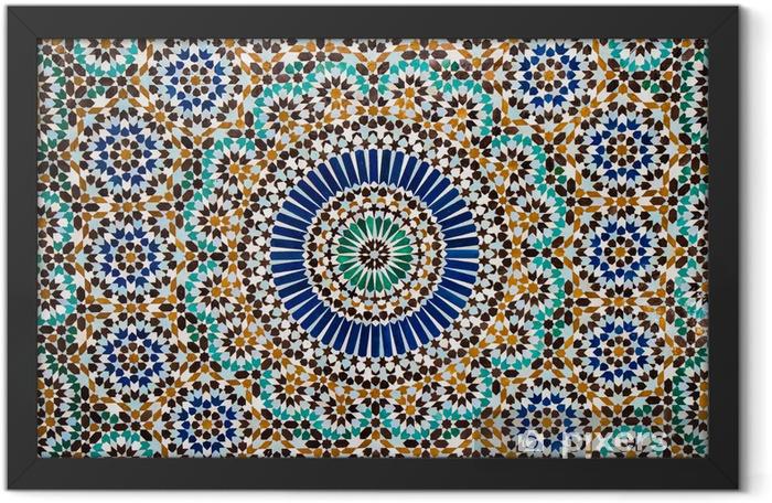 moroccan vintage tile background Framed Poster - Mosaic