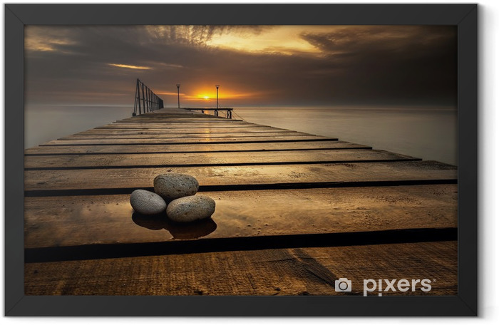 Sea sunrise at the Black Sea coast near Varna, Bulgaria Framed Poster - Themes