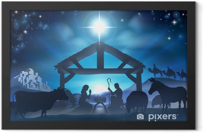 Christmas Nativity Scene Framed Poster - Christmas