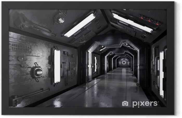 Plakat w ramie Gang innen durch ein dunkles raumschiff - Nauka