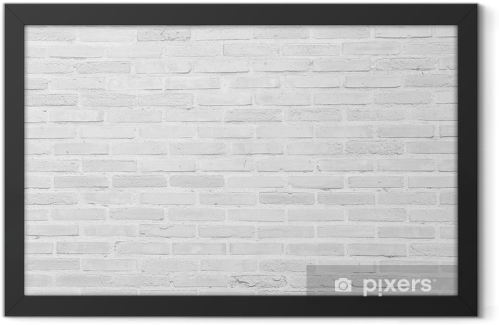 White grunge brick wall texture background Framed Poster - Themes