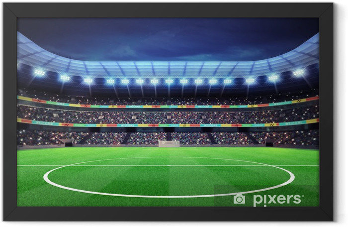 lighted football stadium with fans in the stands Framed Poster - Themes
