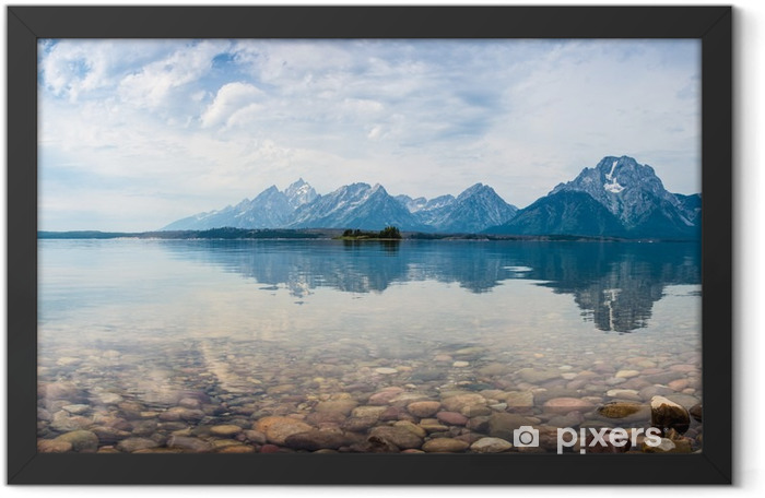 Mountain top reflections on the lake Framed Poster - Mountains