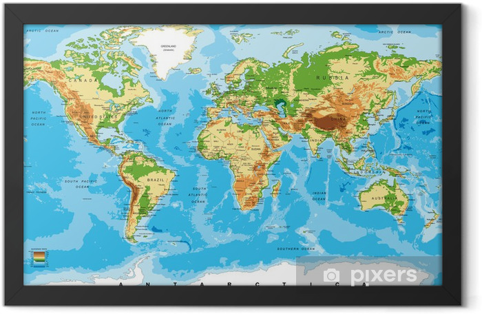 Physical map of the world Framed Poster - Other